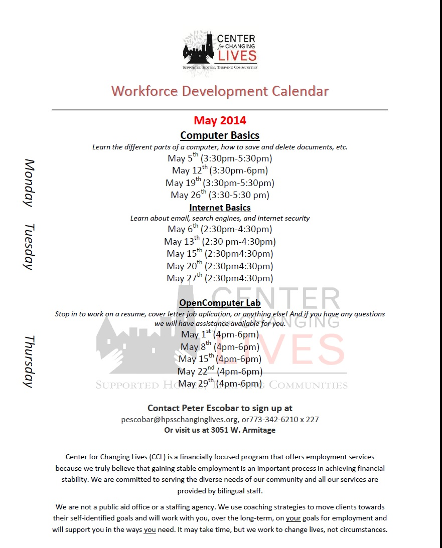 May Workforce Development Calendar | Center for Changing Lives