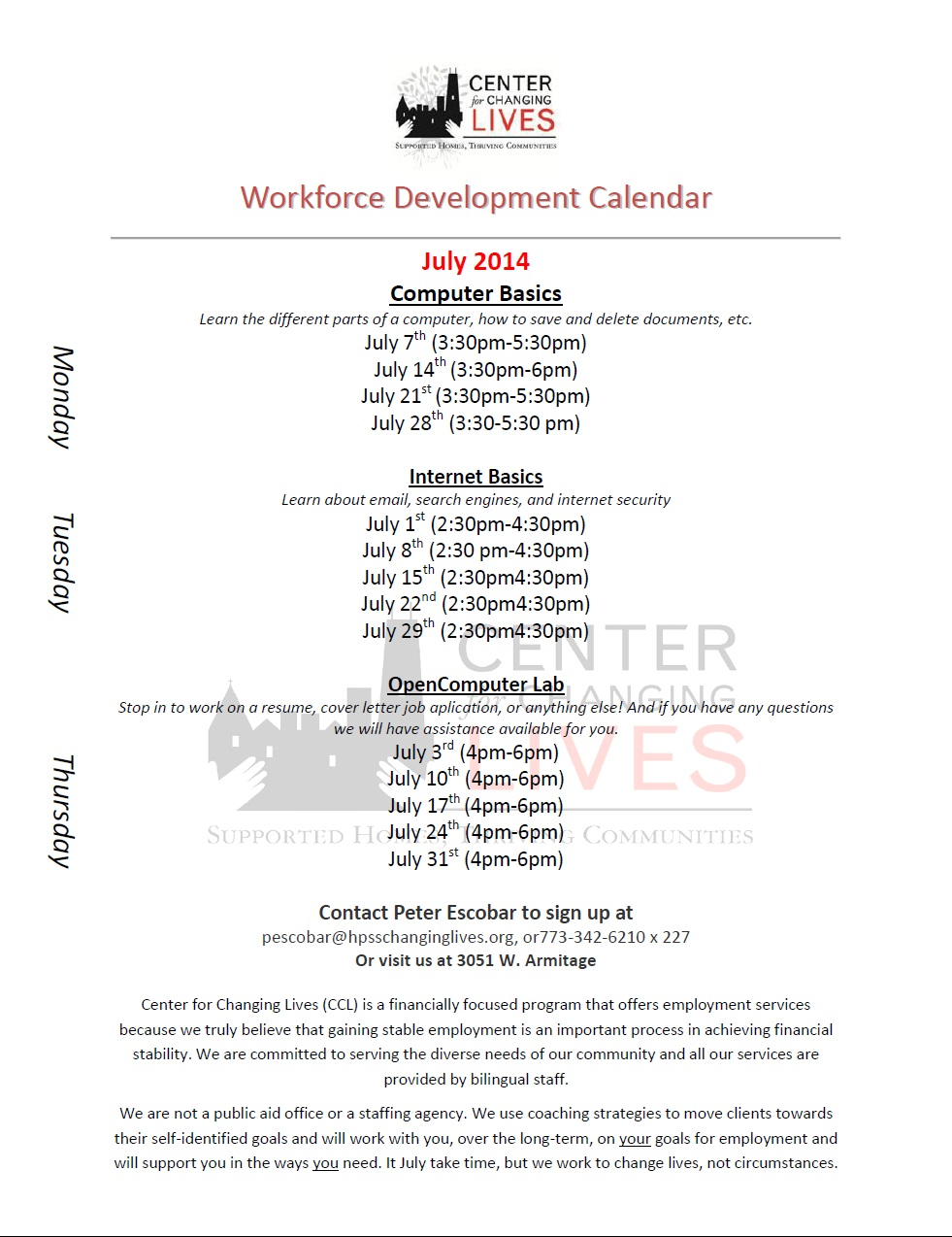 July Workforce Development Calendar | Center for Changing Lives